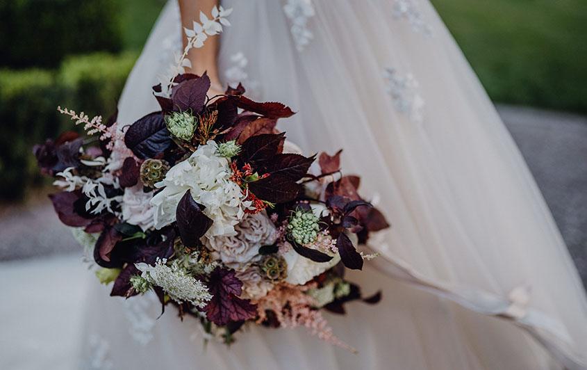 Bouquet bordeaux e cipria