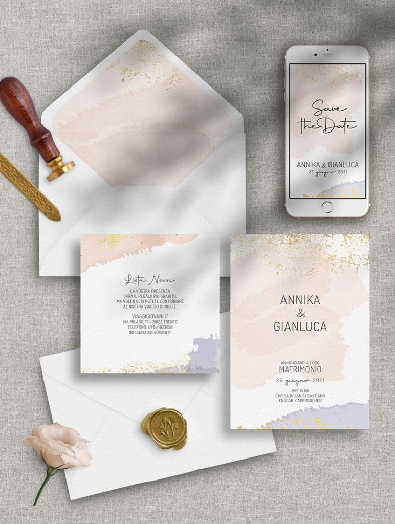 Invito di nozze dai colori pastello - modello ACQUERELLO