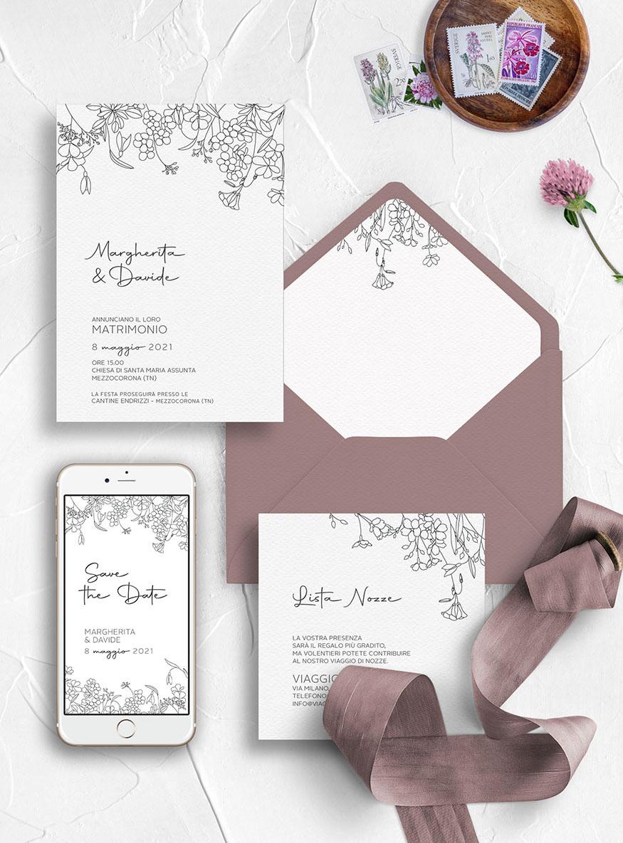Inviti di nozze su misura - modello Primavera