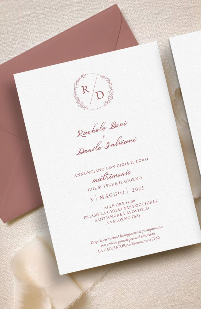 Inviti e partecipazioni di matrimonio personalizzabili - modello terracotta