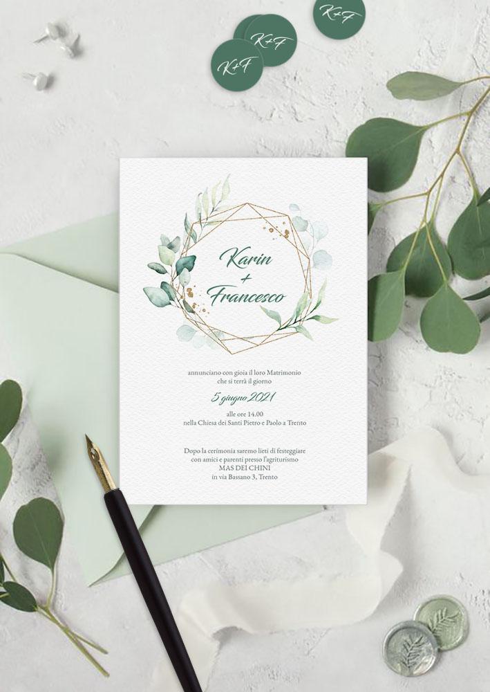 Inviti di nozze personalizzabili - modello Eucalipto