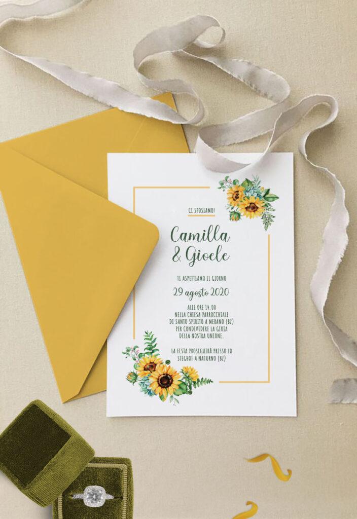 Partecipazioni di nozze modello GIRASOLE