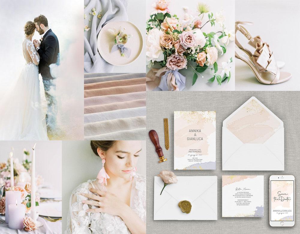 Moodboard per nozze dai colori pastello - inviti modello ACQUERELLO