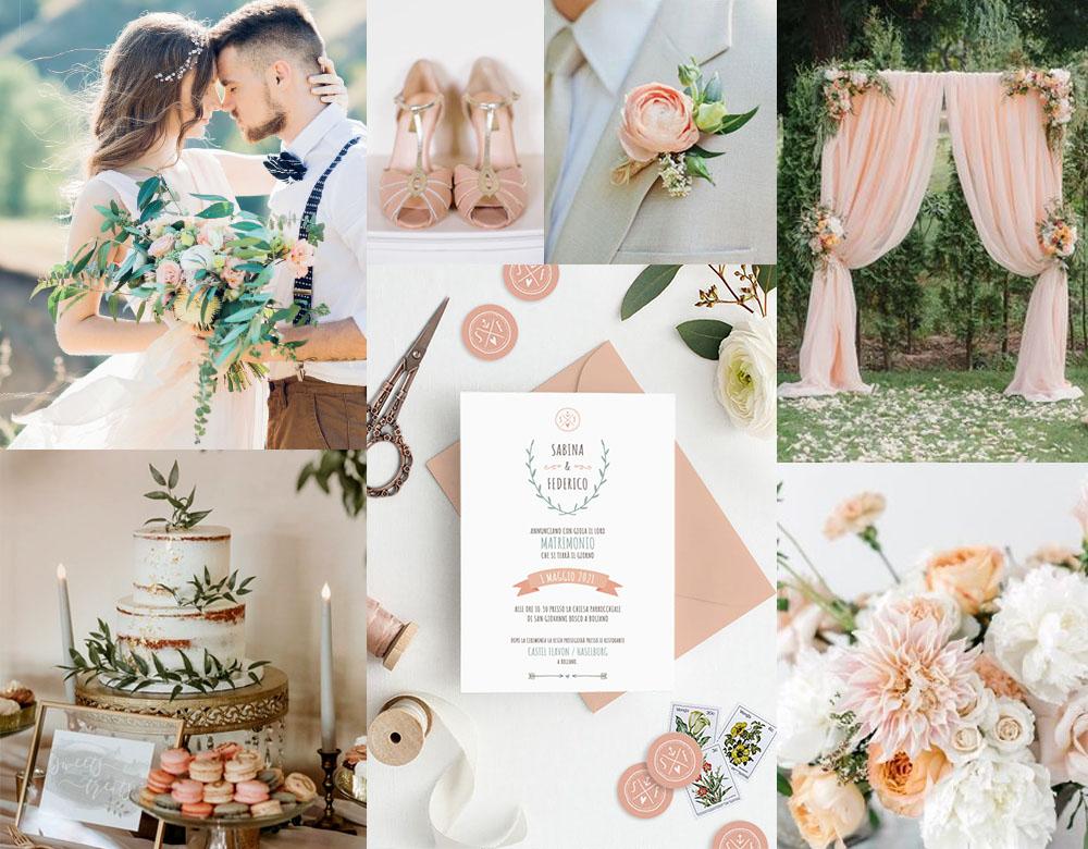 Moodboard per matrimonio color apricot - PESCO
