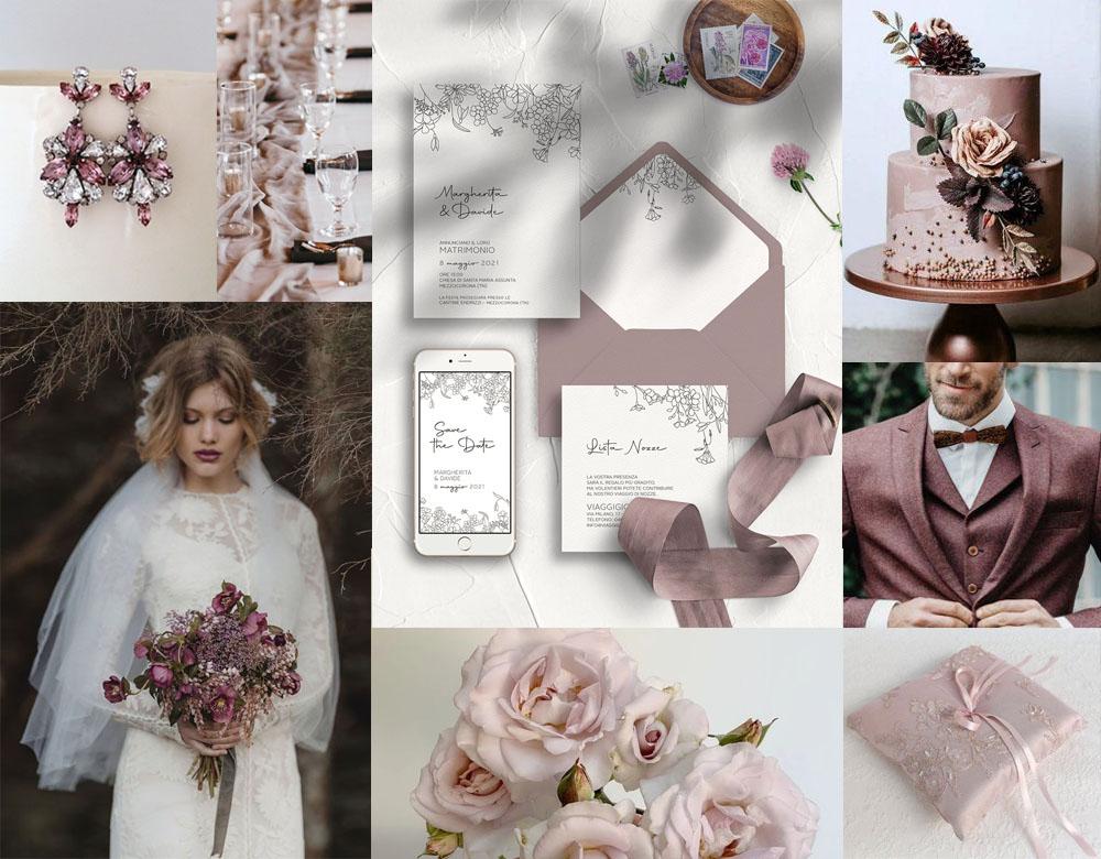 Moodboard di matrimonio rosa antico - inviti modello PRIMAVERA