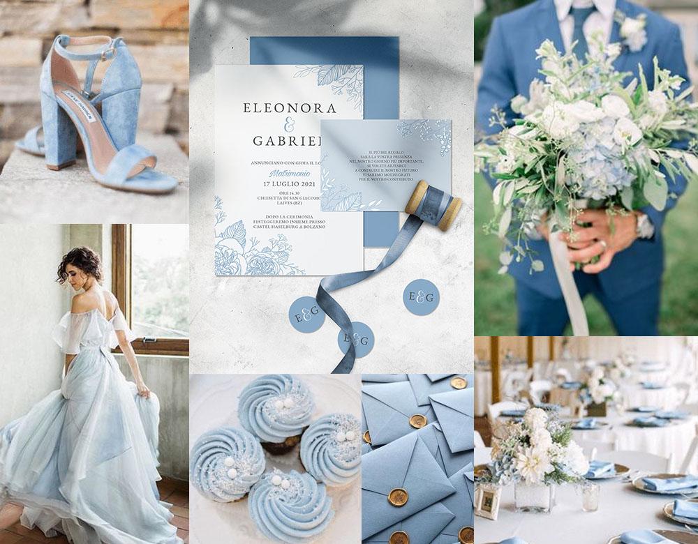 Moodboard matrimonio elegante dusty blu - inviti modello ROSA
