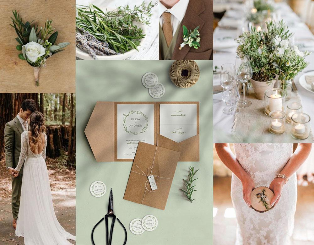 Moodboard per matrimonio con erbe aromatiche