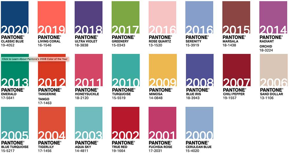 Colori Pantone of the year