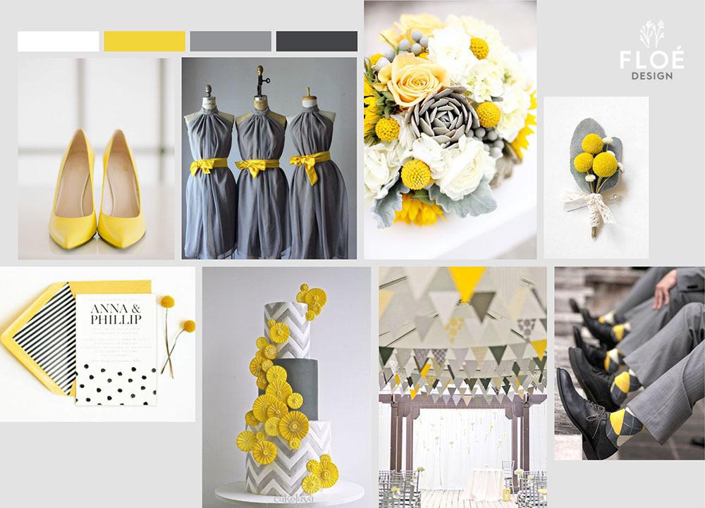 Moodboard matrimonio giallo e grigio