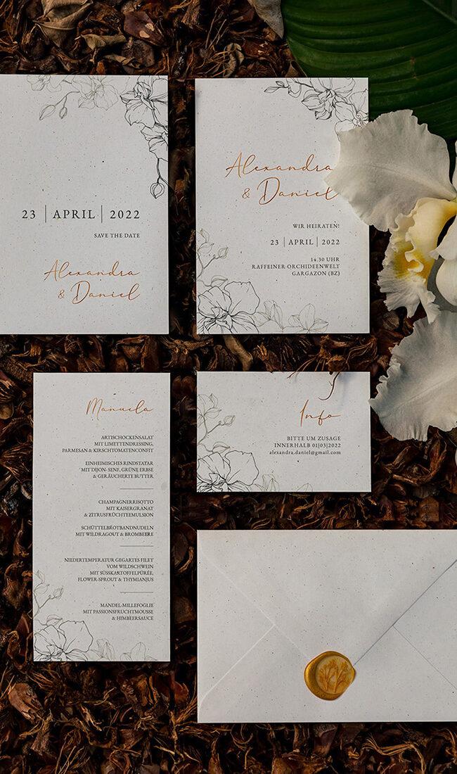 inviti e wedding stationery avorio e oro con orchidee