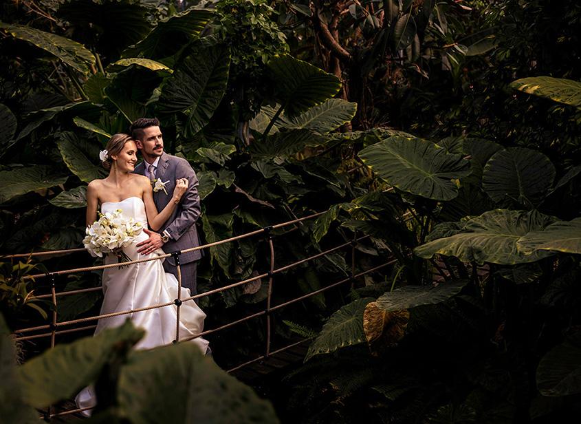 matrimonio nella giungla con orchidee bianche