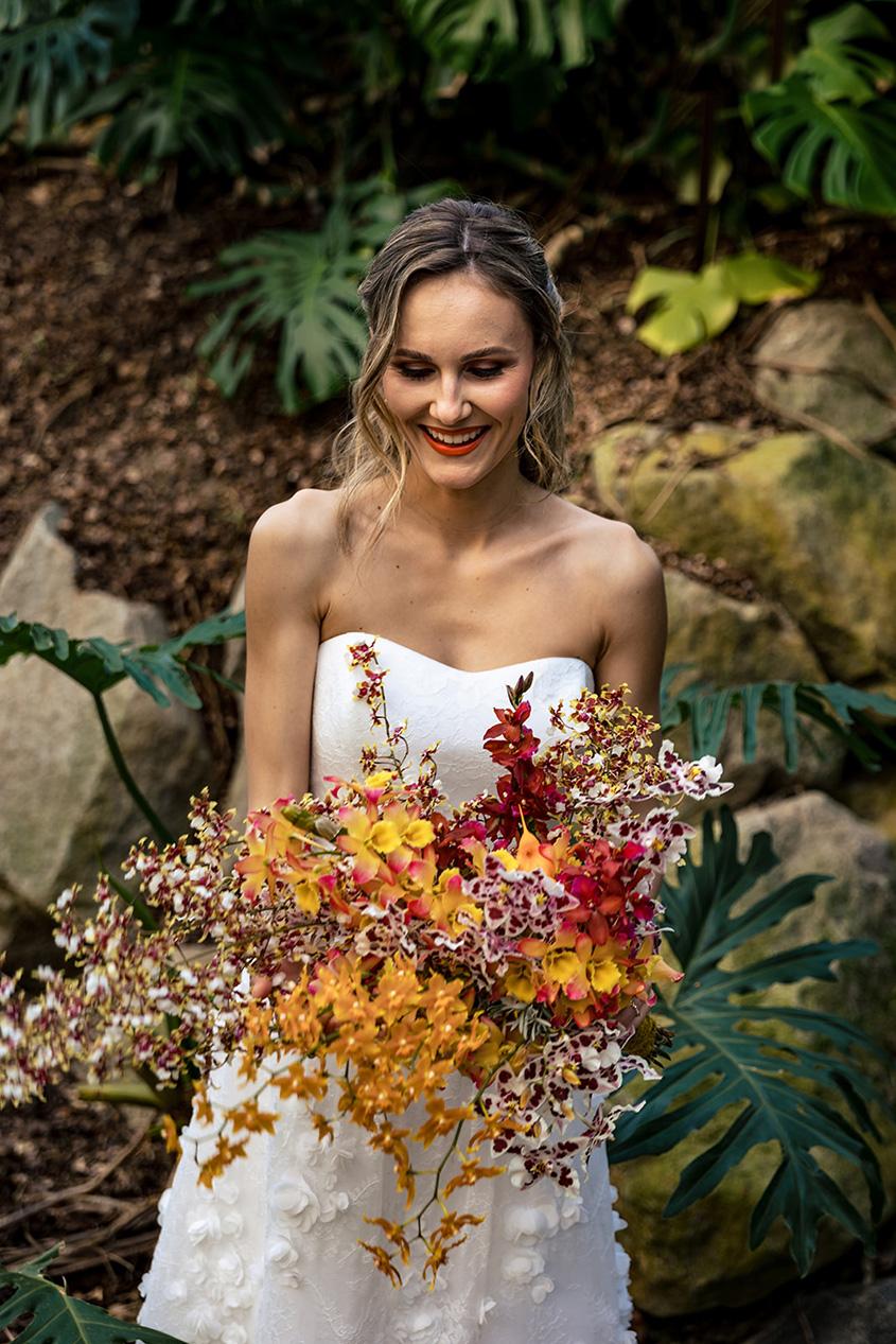 Mazzo da sposa con solo orchidee