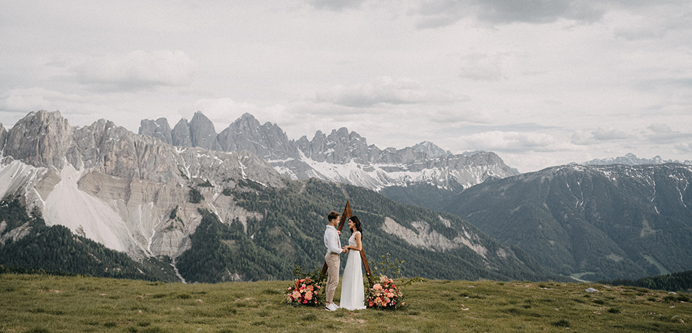 Dolomites Elopement with floral arch